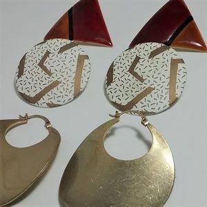 Jewelry - 3 pair vintage / costume earrings 70's 80's style